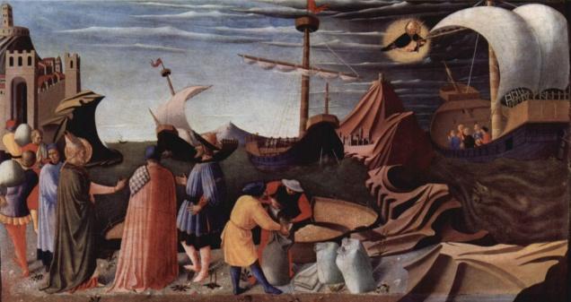 Aparición de San Nicolás en un naufragio. Fra Angelico.