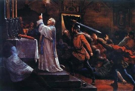 El rey Bolesław (Boleslao II el Temerario) asesina al obispo Estanislao (San Estanislao de Cracovia) durante la Santa Misa.